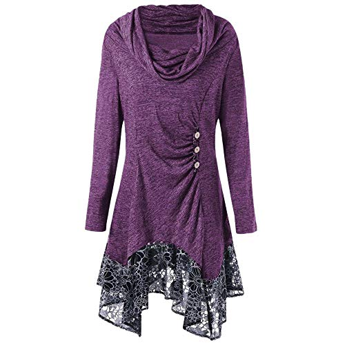 Hotcl Christmas Women Plus Size Winter Sweater Solid Pullover Ruched Long Foldover Collar Tunic Long Sweatshirt Top Blouse (D_Purple, XL) ()