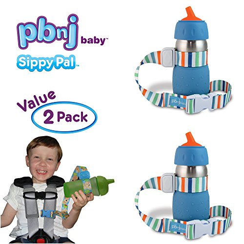 PBnJ Baby SippyPal Sippy Cup Holder Strap Leash Tether (Beach 2-Pack) (Number Buckle)