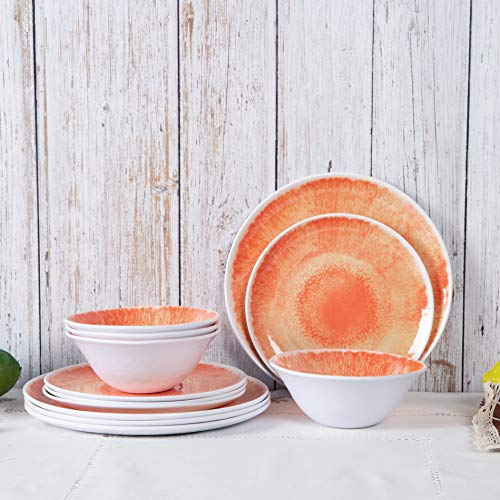 Dishes Dinnerware Set - 12pcs Melamine Dinnerware Plates Set for Everyday Use, Dishwasher safe, Service for 4, Orange