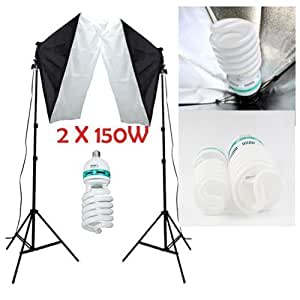 Mesen nuevo 2x150W 5500K 50x70cm softbox fotografía continua iluminación kit profesional 2 X 150W 220V 5500K-240 lámparas Daynight foto Video Studio Kit