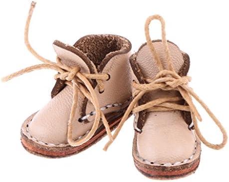 1 / 6スケール BJD SD DODドール人形用 かわいい 靴 シューズ アンクルブーツ 2色 - ベージュ
