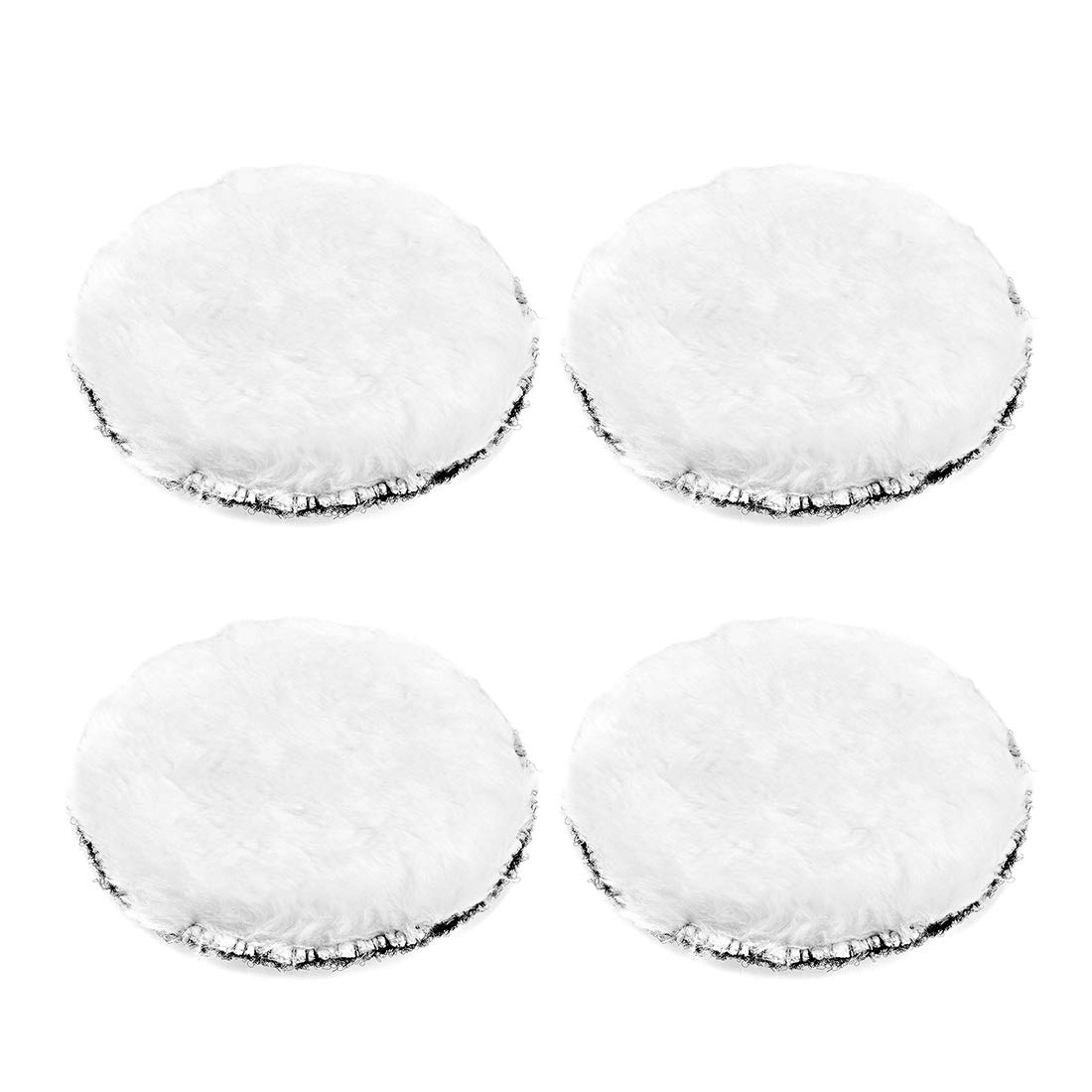 sourcing map 6-Inch Wool Polishing Pad Hook and Loop Buffing Wheel for Polisher and Buffer 4 Pcs
