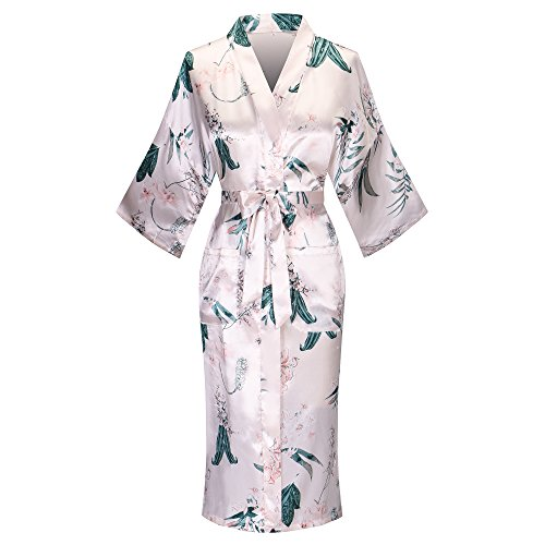 Old-to-new Women's Lightweight Patterned Long Kimono Robe Silk Bathrobe with Pockets Pagoda Floral White L (Dress Silk Long)