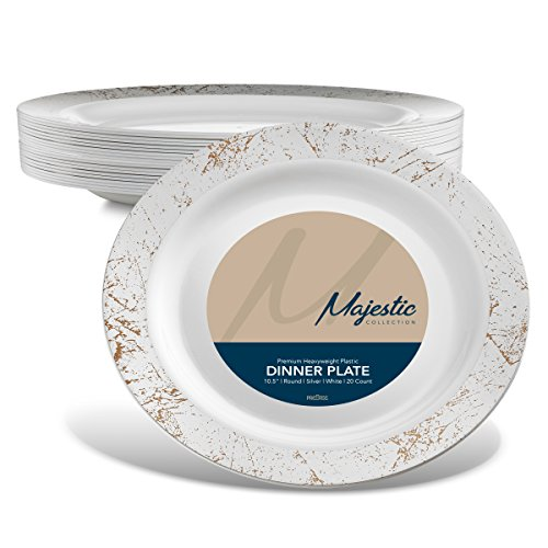 MAJESTIC 10.25 in. Plastic Dinner Plates | 20 Pack | White with Silver Speckled Rim | Disposable | For Weddings, Parties, Holidays & Occasions.