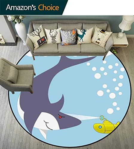 Porcello Bubbles - Yellow Submarine Round Rug Under Table,Shark with Vessel in Ocean Bubbles Under Sea Theme Animals Cartoon Stain Resistant & Easy to Clean,Blue Gray Yellow,D-70