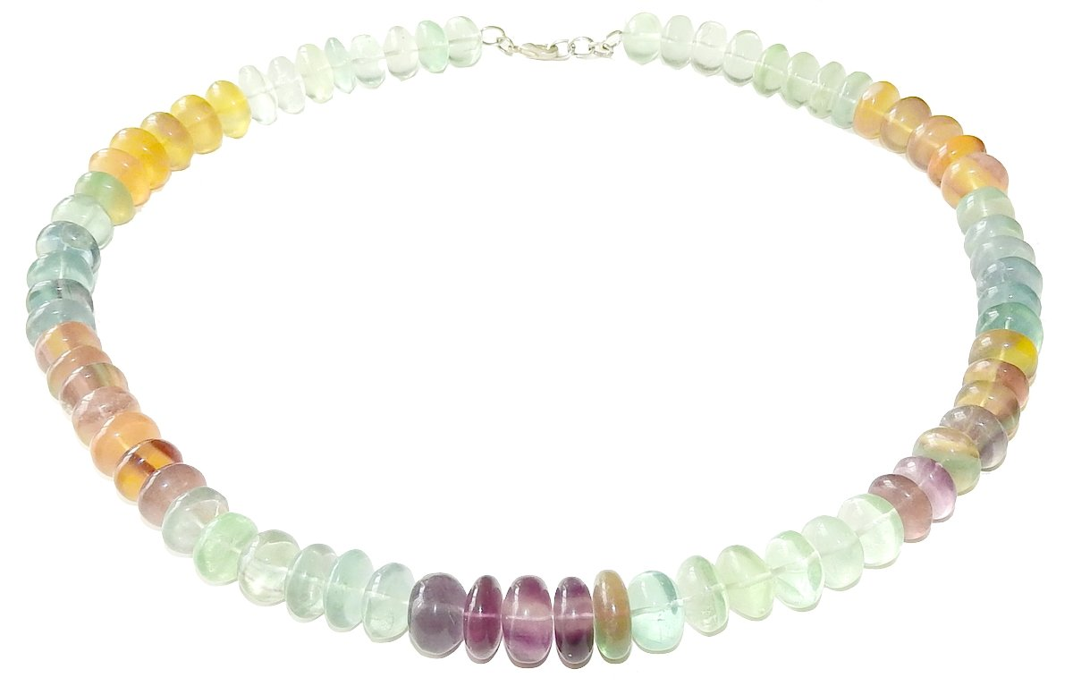 Fluorite Necklace 02 Rondelle Bead Multi Color Stone Natural Spiritual Healing Crystal Energy (Gift Box)
