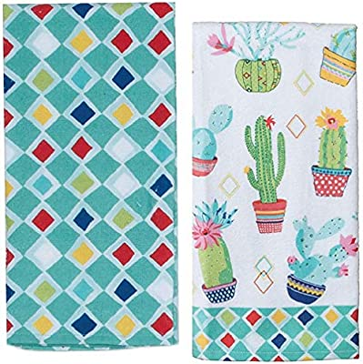 Cactus DUAL PURPOSE Terry Kitchen Towel Kay Dee Cactus Garden Pattern