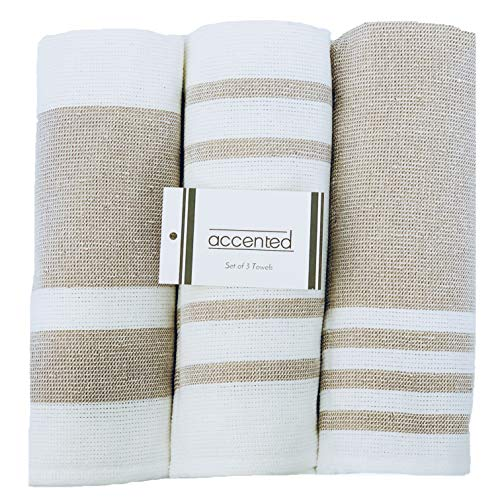 - Accented Kitchen Towels, Set of 3 - Thick, Fast Drying, Absorbent Tea Towels - Turkish Cotton Terry Back Dish Towel Set with Hanging Loop - (19 x 26 inches) (Cappuccino Beige)