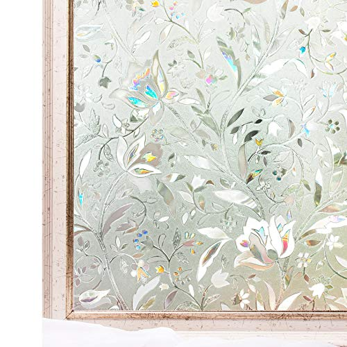 CottonColors Brand Window Film 23.6x78.7 Inches 3D Static Privacy Decoration Self Adhesive for UV Blocking Heat Control Glass Stickers