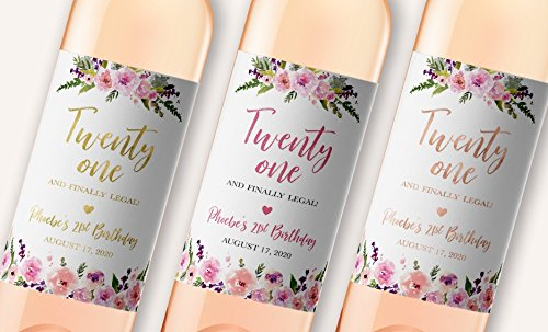 21st Birthday Wine Label - Twenty One and Finally Legal - Personalized Birthday Girl Wine Bottle Labels, Girl Birthday Party Ideas, Chic 21st Birthday Gift Wine Labels WATERPROOF, WEATHERPROOF A140-21