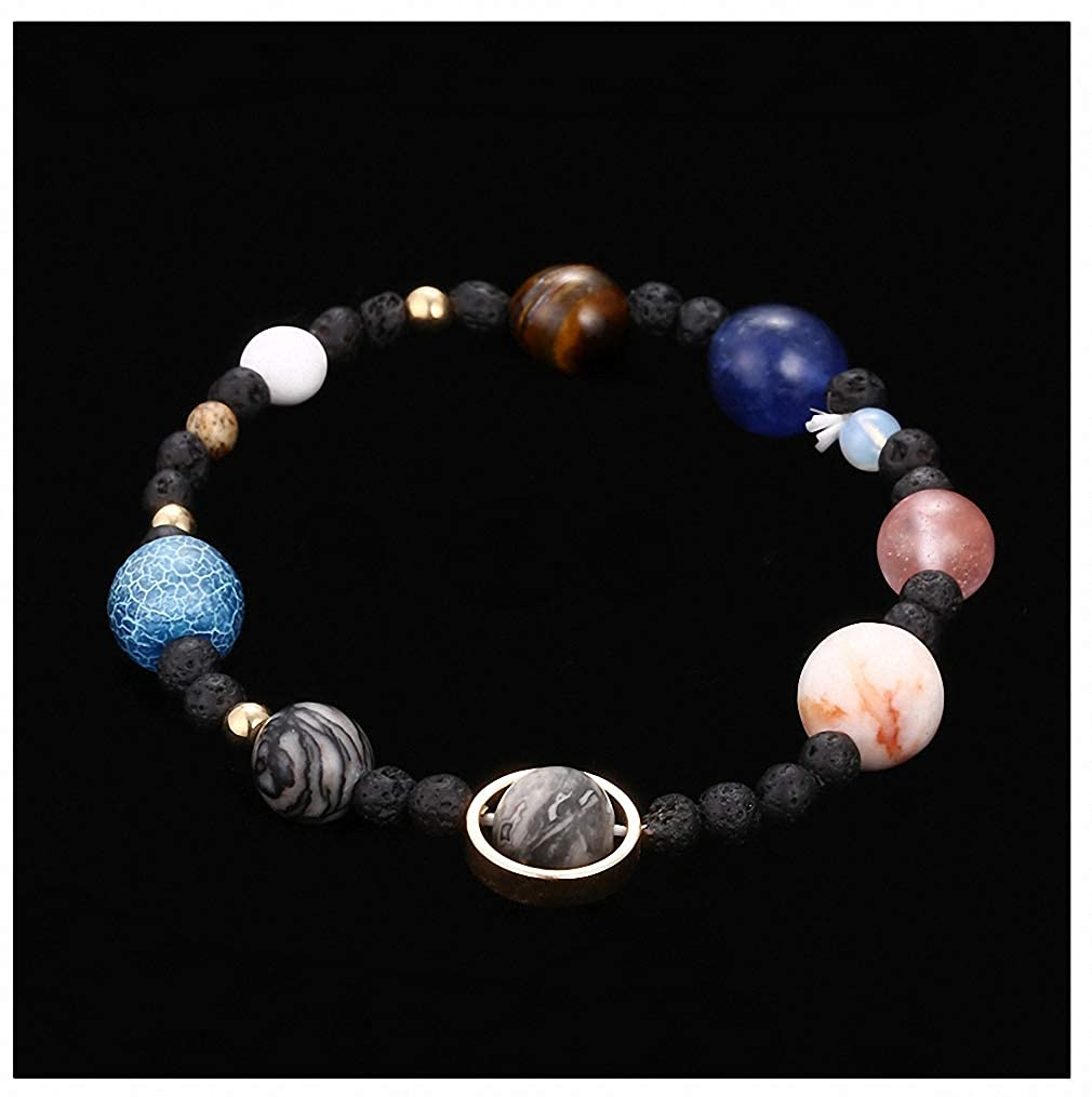 Womens Handmade Solar System Bracelet Universe Galaxy The Eight Planets Star Natural Stone Bead Bracelets Bangles Giwotu