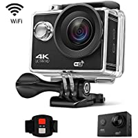 Gtopin 4K WiFi Action Camera 30fps Ultra HD 16MP 30M Underwater Waterproof Sports Camera Video Camcorder with Wireless Remote Control, Mounting Accessories Kit, 2 Rechargeable Battery