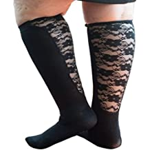 Xpandasox Women's Plus Size/Wide Calf Cotton Blend Solid/Lace Knee High Socks