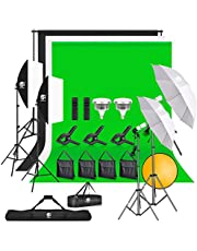 8.5ftx10ft Backdrop Stand and LED Photography Lighting, 5500K Umbrella Softbox kit with 3 Photography Props, Muslin Green Screen, Black & White screen for Vlogging, Camera Lighting, Video Conferencing