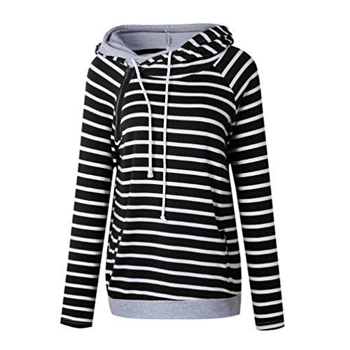 Maniche Sweatshirts Moda Con Nero Righe Wanyang Cappuccio Donne Lunghe A Maglione Felpa Autunno Inverno Cappotto Donna wX65p5qR