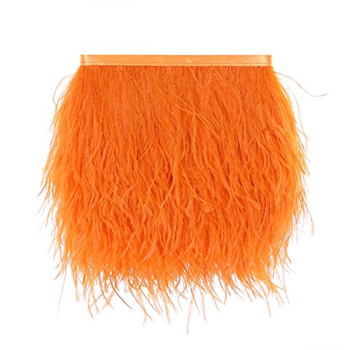 Ostrich Feathers Trims Fringe with Satin Ribbon Tape for Dress Sewing Crafts Costumes Decoration Pack of 2 Yards (Orange