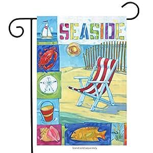 """Seaside Playa Verano bandera de Jardín Silla de playa náutico iconos 12,5""""x 18"""""""