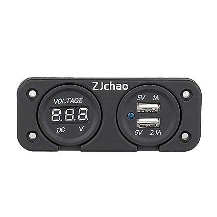 Voltímetro digital del zócalo del cargador 2 USB, Voltímetro de la pantalla digital del LED para el infante de marina del barco del coche