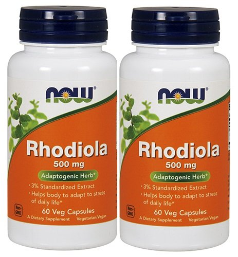 NOW Rhodiola Rhodiola Rosea 500mg, 60 Capsules (Pack of 2)
