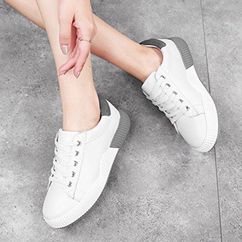 estudiante los mujeres de Tamaño marea mujer White zapatos ocasionales HWF la Zapatos pink los Color placa zapatos resorte deportes Los para de del blancas de calzan del la las Gray White planos de 36 OA8FAqzw