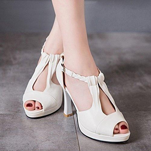 Talons Peep Blanc Chaussures TAOFFEN Toe Sandales Mode strap T Femmes Hauts Boucle De Bloc O55wS8
