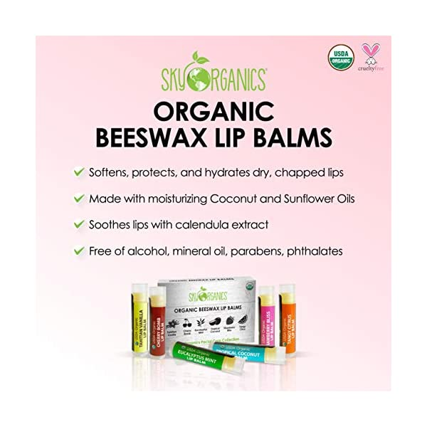 USDA Organic Lip Balm by Sky Organics – 6 Pack Assorted Flavors – With Beeswax, Coconut Oil, Vitamin E. Best Lip Butter…