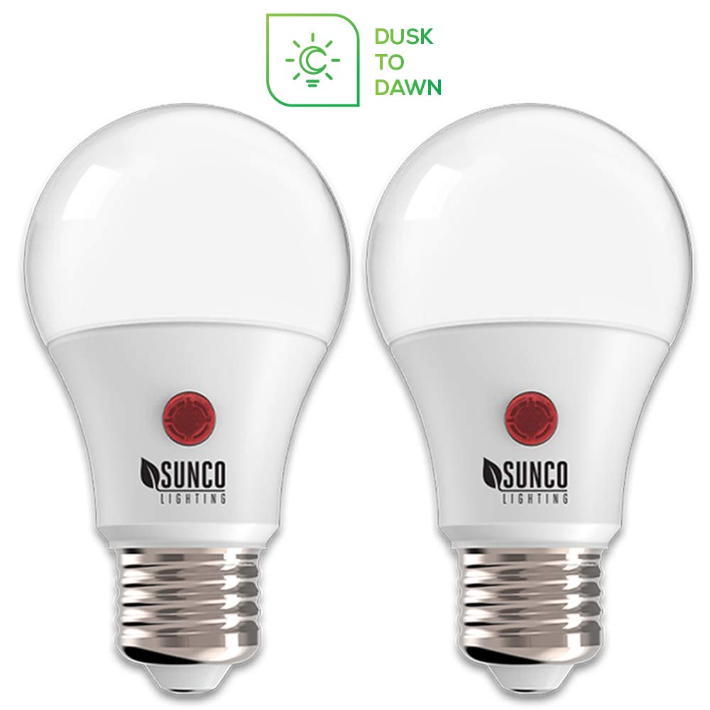 Sunco Lighting 2 Pack A19 LED Bulb with Dusk-to-Dawn, 9W=60W, 800 LM, 2700K Soft White, Auto On/Off Photocell Sensor - UL