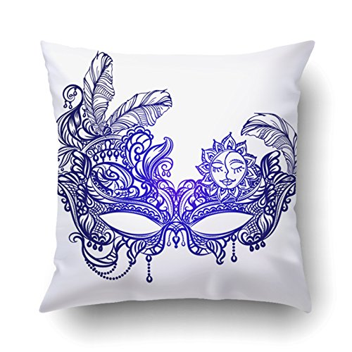 Emvency Throw Pillow Cases Decorative Hand Drawn Face Masks In The Style Of Boho Chic Festival Mardi Gras Masquerade Cushion Covers Pillowcases Onside Printed Square 18x18 Inch