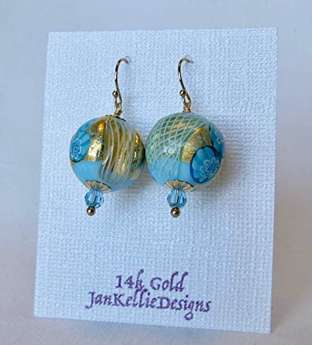 (Venetian Glass Millefiori Round Bead Swarovski Crystal Earrings with Solid 14k Gold French Ear Wires)