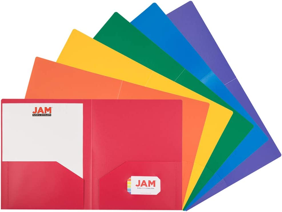JAM PAPER Heavy Duty Plastic 2 Pocket School Folders - Assorted Primary Colors - 6/Pack : Office Products