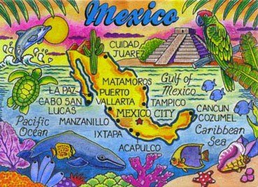 Mexico Map Caribbean Fridge Collector's Souvenir Magnet 2.5