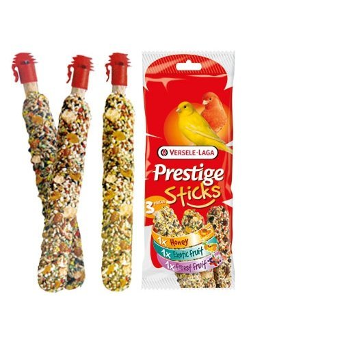 Prestige Sticks pour canaris – Multipack 3 pièces : 1 miel, 1 fruits exotique, 1 fruits de la forêt Versele Laga