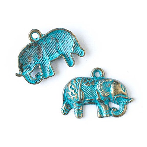 Green Elephant Charm - Cherry Blossom Beads Green Bronze Colored Pewter 21x27mm Indian Elephant Charm - 10 per bag