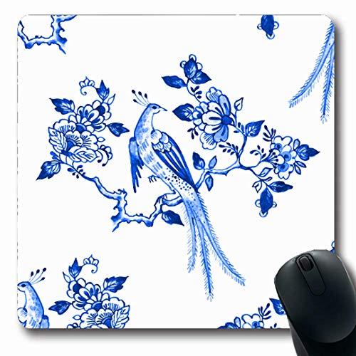 Ahawoso Mousepads Tile Watercolor Pattern Delft Blue Netherlands Watercolour Floral Bird Porcelain Antique Holland Oblong Shape 7.9 x 9.5 Inches Non-Slip Gaming Mouse Pad Rubber Oblong Mat (Antique Delft Tiles)