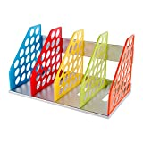DIY Colorful Bookend Removable Bookstand Support Frame Desk Organizer Storage Plastic Book Shelf Rack Bin Heavy Duty Bookcase Nonskid Document File Holder for Office School Supplies Vertical Standard