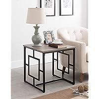 Weathered Grey Oak / Black Frame Square Design Side End Table 22H
