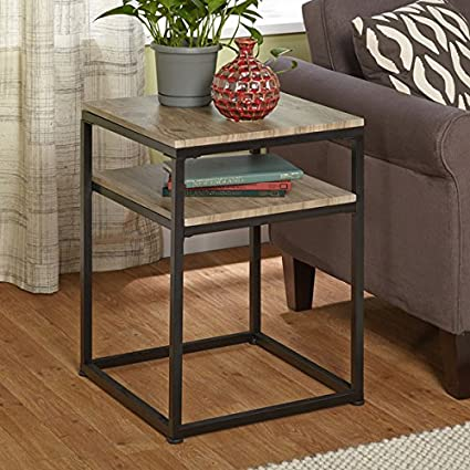 Merveilleux End Table Living Room Contemporary Modern Home Decor Side Accent Wrought  Iron Natural Wood Furniture
