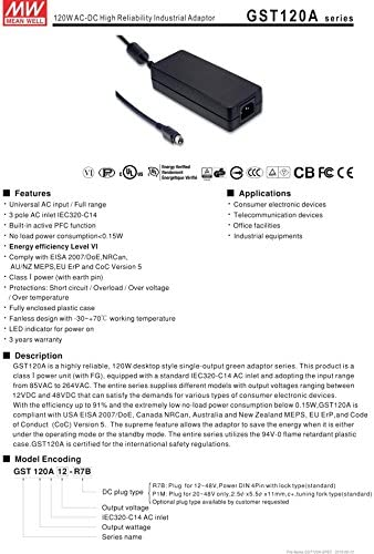 Desktop Industrial Adapter 120W 24V 5A GST120A24-R7B Meanwell AC-DC SMPS GST120A MEAN WELL Switching Power Supply