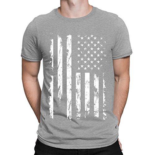 SpiritForged Apparel Distressed White USA Flag Men's T-Shirt, Light Gray Large - American Flag White T-shirt
