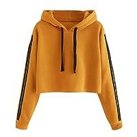 Homebaby Felpe Corte Tumblr Donna Autunno Casual,Ragazza Sweatshirt Pullover Elegante Manica Lunga Crop Top Maglietta Cotone Camicette T-Shirt Yoga Fitness Calcio Sportiva Maglione