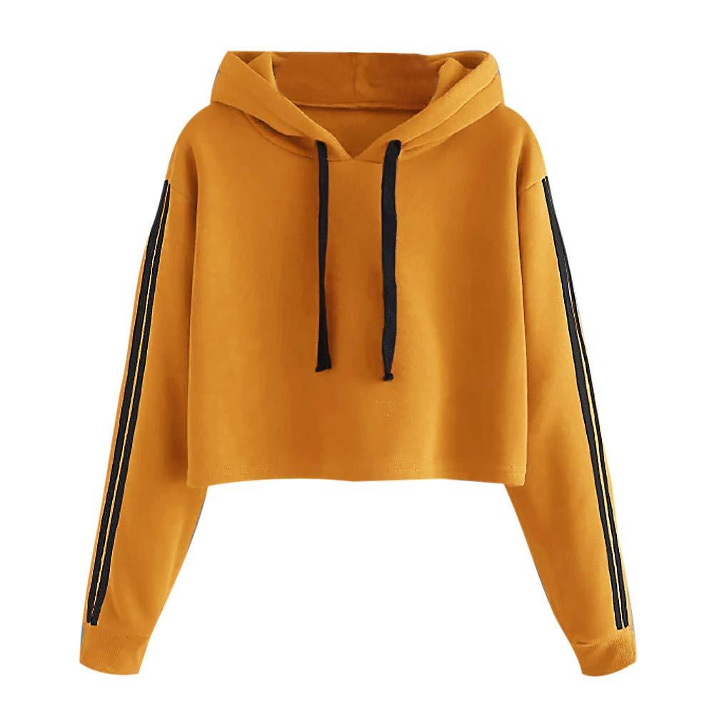 LEXUPA Womens Striped Long Sleeve Hoodie Sweatshirt Jumper Hooded Pullover Tops Blouse