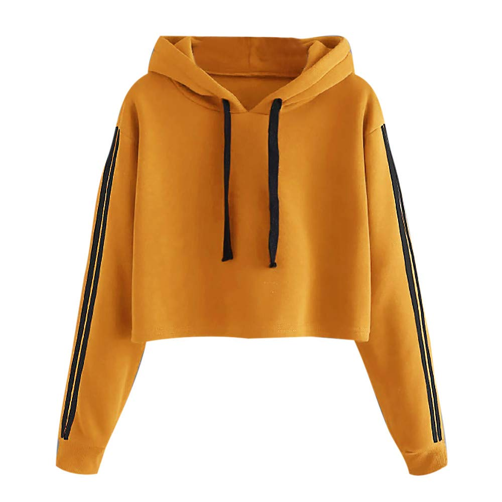 Chartsea Women Striped Long Sleeve Hoodie Sweatshirt Jumper Hooded Pullover Tops Blouse (L, Yellow)