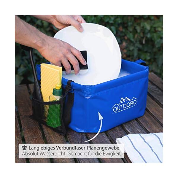 51OhZG2Vw L Outdoro Faltschüssel Groß - 16/22 Liter - Inklusive Zusatz-Tasche - Langlebiges Planen-Gewebe - Faltbare Waschschüssel…
