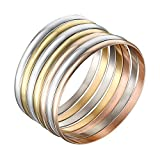 Castillna Set of 7 Tri-Color Silver / Gold / Rose Gold Stainless Steel Bangle Bracelet
