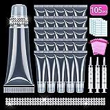 105PCS Lip Gloss Tubes 10ml with 3 x 20ml Syringes + 5 x organza bags