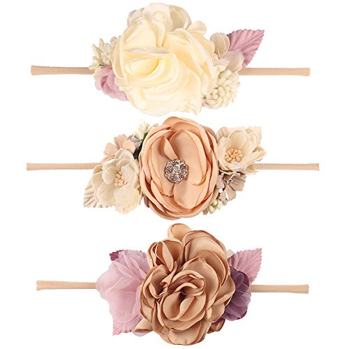 CN Baby Girls Floral Headbands Nylon Flowers Crown Hair Bow Elastic Bands For Newborn Infant Toddlers Kids Pack of 3 -