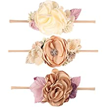 CN Baby Girls Floral Headbands Nylon Flowers Crown Hair Bow Elastic Bands Newborn Infant Toddlers Kids