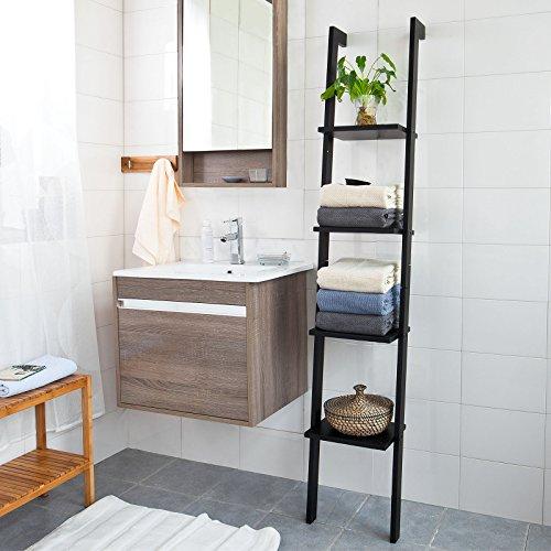 (Haotian Modern Ladder Bookcase Made of Wood, Book Shelf,Stand Shelf, Wall Shelf (US-FRG15-SCH))