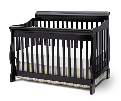 Delta Children Canton 4-in-1 Convertible Crib, Black  (Black 1)