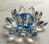 Crystal Lotus Flower for Fengshui and Home Decorative 4.16 Inch Blue
